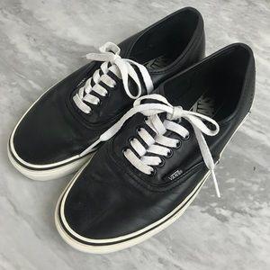 Vans Faux Leather Black Lace Up Shoes